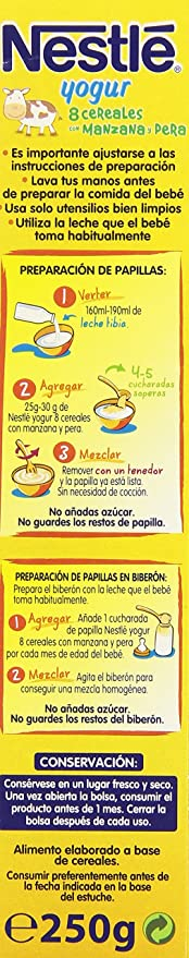 Nestlé Papillas 8 Cereales con yogur, Pera y Manzana, Alimento Elaborado a Base de Cereales - 250 gr: Amazon.es: Alimentación y bebidas