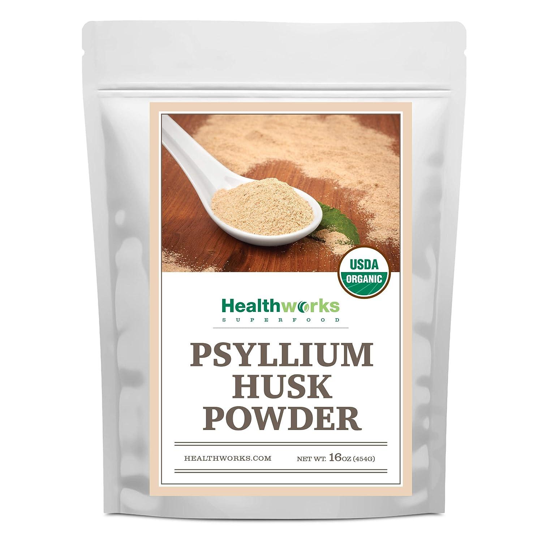 Healthworks Psyllium Husk Powder (16 Ounces / 1 Pound) | Raw | Certified Organic | Finely Ground Powder from India | Keto, Vegan & Non-GMO | Fiber Support