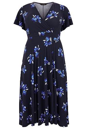 4bf7bebf45 Yours Damen Skater Kleid, Geblümt Blau blau Gr. 52-54, navy: Amazon.de:  Bekleidung