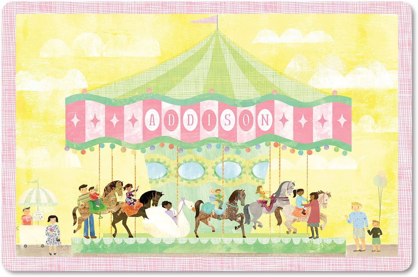 Kids Placemat Personalized with Child's Name, Custom Dining Table Mat, Unique Gift for Boys and Girls, Pony Carousel Circus