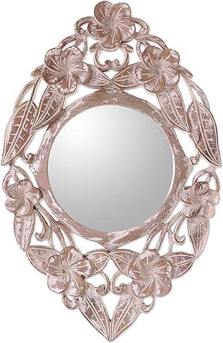 NOVICA Floral Wood Wall Mounted Mirror, Natural Or White Jembrana Frangipani