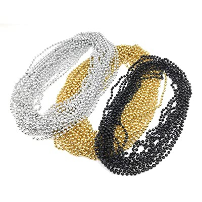 144 Pieces 33 inch 07mm Metallic Silver, Gold, Black Color Mardi Gras Beads Beaded Necklace Ideal for New Years Eve, Anniversary Party, Party Favors, and Table Centerpiece Decorations: Toys & Games
