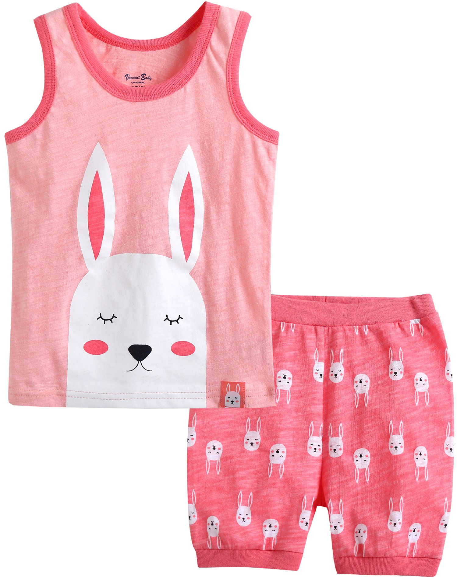 Vaenait baby 100% Cotton Kids Girls Summer Sleeveless Pajama Set Coolcool Rabbit S