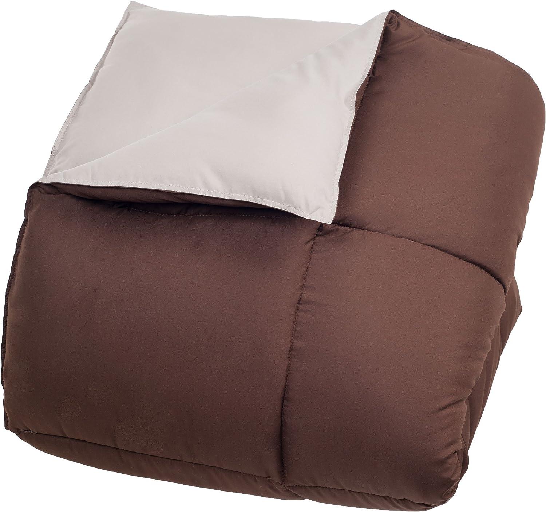 Lavish Home Reversible Down Alternative Comforter, Twin, Chocolate/Taupe