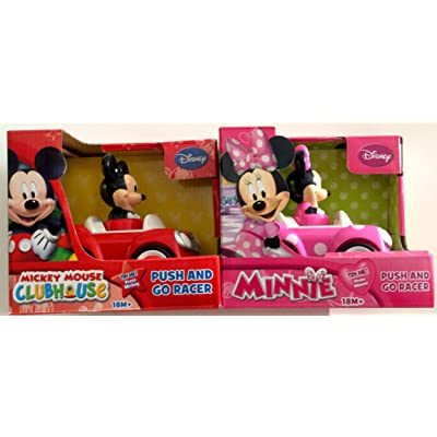 Disney Mickey Mouse and Minnie Mouse Push and Go Racer 2-Car Bundle: Toys & Games