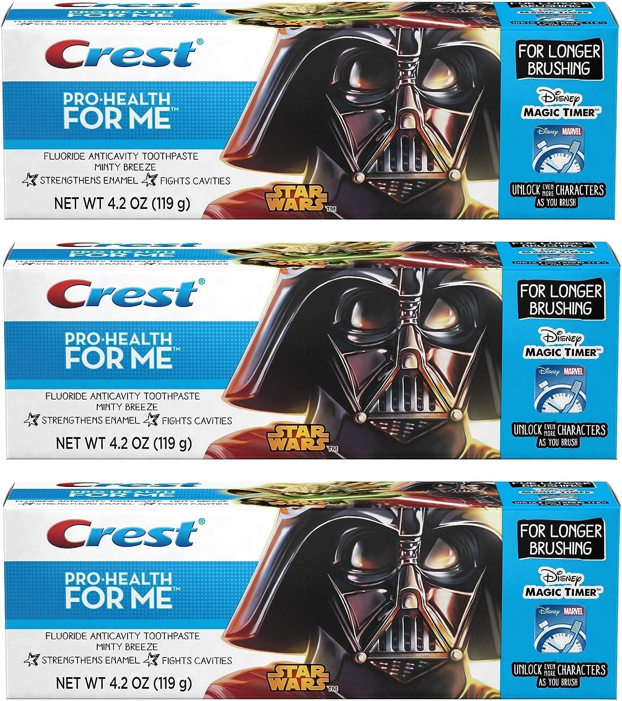Crest Pro-Health JR. Star Wars, For Longer Brushing, Minty Breeze Toothpaste, 4.2 Oz. Pack of 3.
