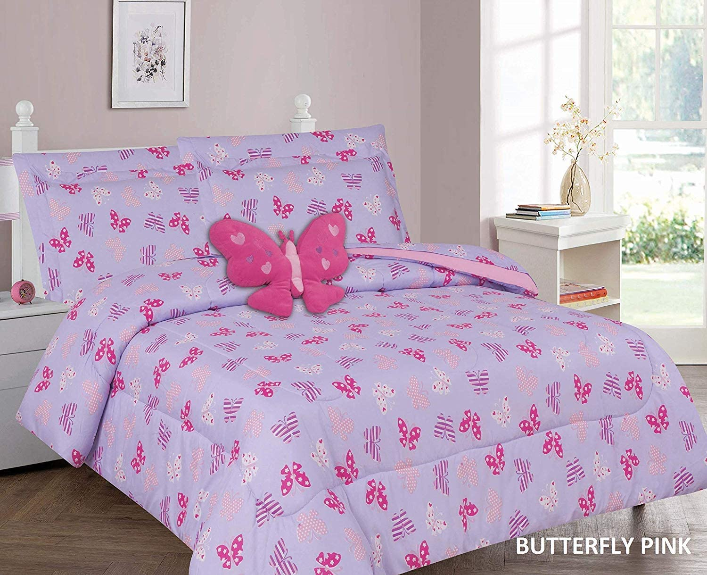 Jasmine Linen Cute 6 Piece Children Kids Twin Size Comforter Set Bedding Bag W/Sham, Sheet Set, Plush Toy (Butterfly-Pink, Twin)