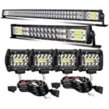 LED Light Bar KEENAXIS 52 Inch 300W 22 Inch 120W Curved Spot Flood Combo Light Bars 4Pcs 4 Inch 60W Led Pods Cubes Lights for