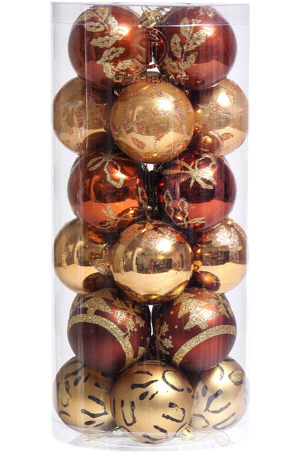 Sea Team 60mm/2.36'' Delicate Contrast Color Theme Painting & Glittering Christmas Tree Pendants Decorative Hanging Christmas Baubles Balls Ornaments Set - 24 Pieces (Gold & Bronze)