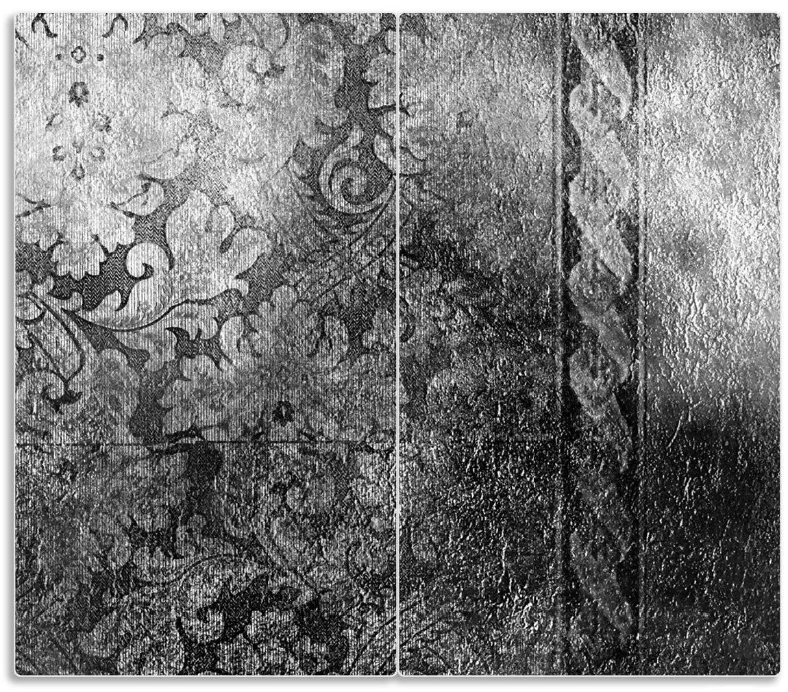 60x52cm Wallario Herdabdeckplatte//Spritzschutz aus Glas 1-teilig Schn/örkelmuster in grau f/ür Ceran- und Induktionsherde