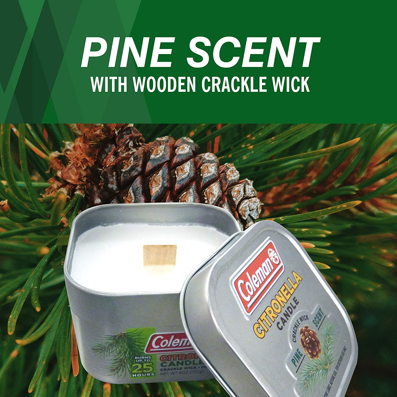 Amazon Com Coleman Pine Scent Citronella Candle With Wooden