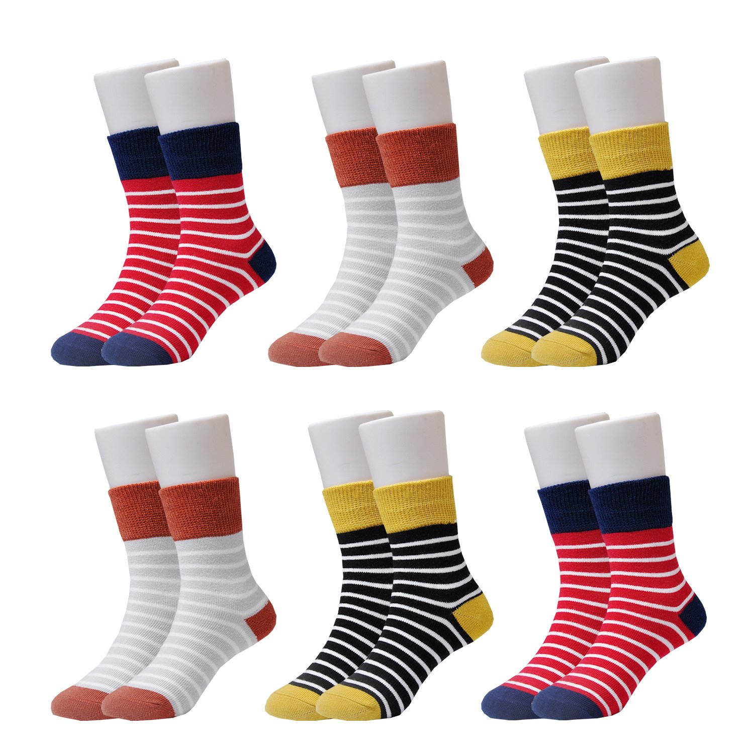 Epeius Kids Little Boys' Stripes Pattern Cotton Short Crew Socks for 8-11 Years 6 Pair Pack,Shoe Size 12.5-2