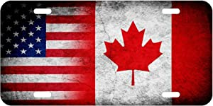 ExpressItBest High Grade Aluminum License Plate - Flag of Canada (Canadian) - Rustic/USA