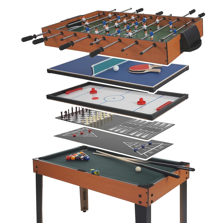 22666fe13d1560 Mendler Table de Baby-Foot Wakefield, Billard, Hockey, 7 en 1, Table  multijeux, 82x107x60cm  Amazon.fr  Cuisine   Maison