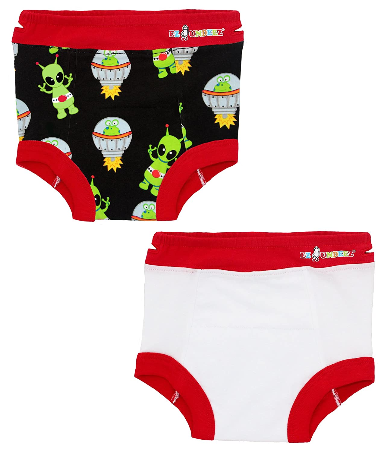 Ez Undeez Boys Toddler Training Underwear with Padded Layer Ez Sox EZUN44_ALIENS