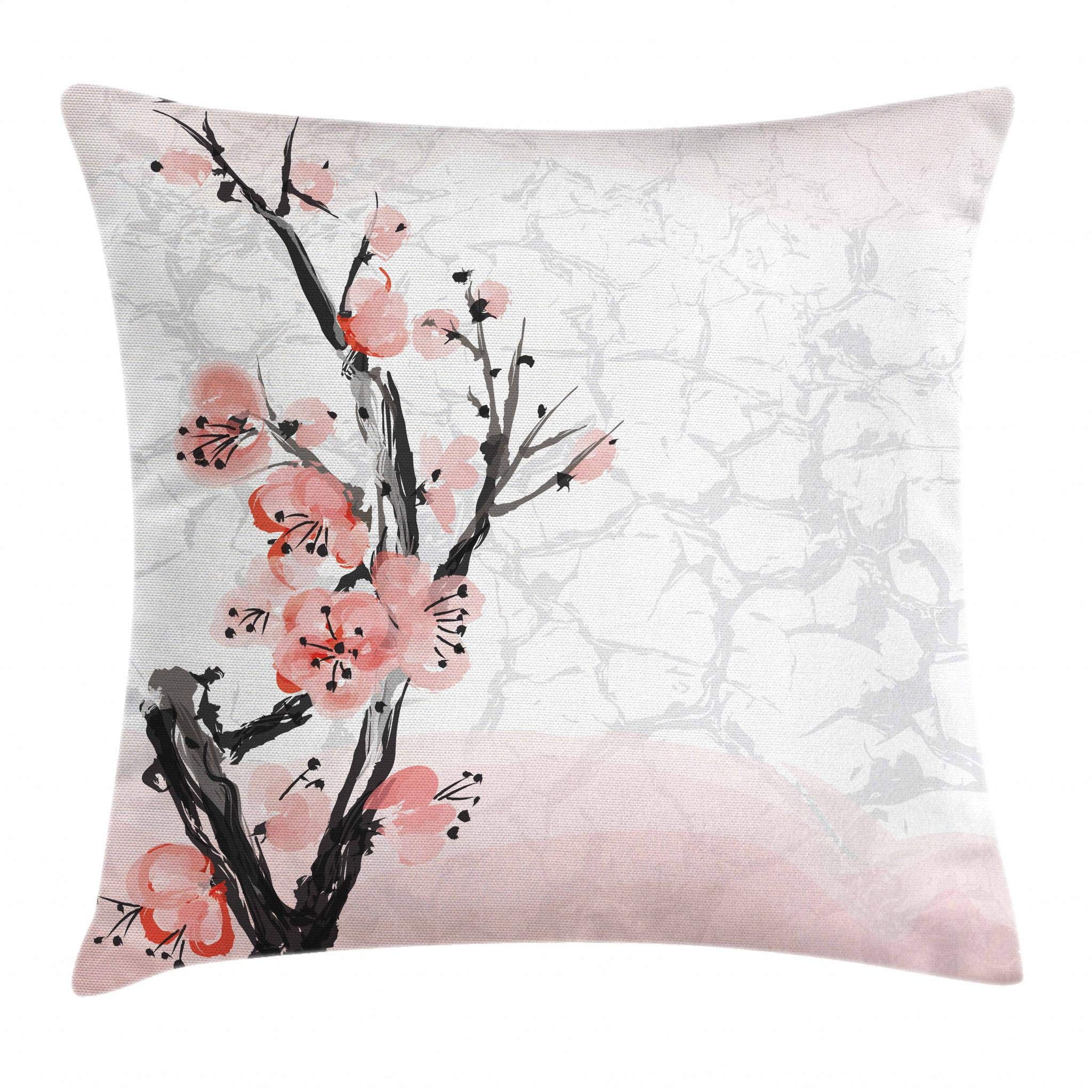 Ambesonne Floral Throw Pillow Cushion Cover, Japanese Cherry Blossom Sakura Tree Branch Soft Pastel Watercolor Print, Decorative Square Accent Pillow Case, 20 X 20 Inches, Coral Light Pink Grey