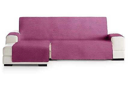 JM Textil Funda Cubre Sofá Chaise Longue Elena, Protector para Sofás Acolchado Brazo Izquierdo. Tamaño -290cm. Color Malva 02 (Visto DE Frente)