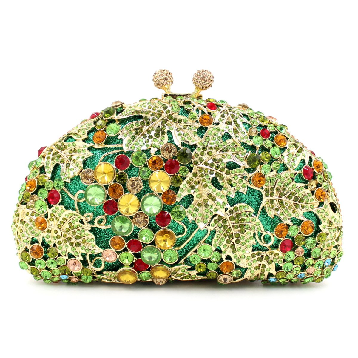 Flada Women and Girl's Evening Clutch Bag Grape Vine Handbag for Wedding Party Prom Green