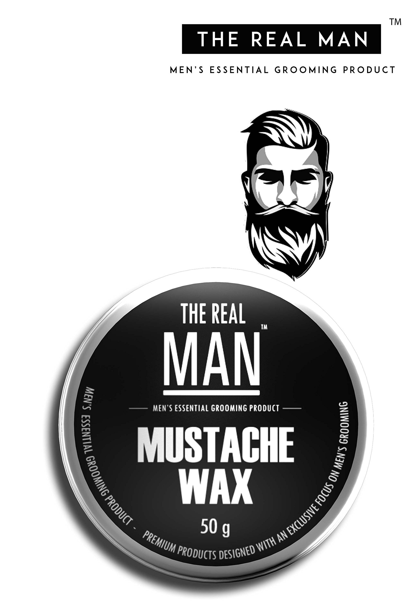 Mustache Wax with All Natural- Almond Oil | Jojoba Oil | Olive Oil | Sunflower Oil | Fragrances with Bees Wax |Shea Butter | Coco Butter 100% Organic : Extra Strength, Firm Hold 50g by THE REAL MAN.