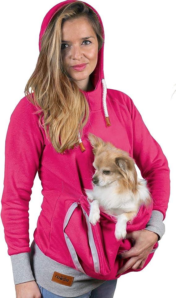 Pet Pouch Hoodie Small Pet Carrier - Dog Cat Pouch Hoodie Sweatshirt Kangaroo Pocket Holder - No Ears - Women's Fit