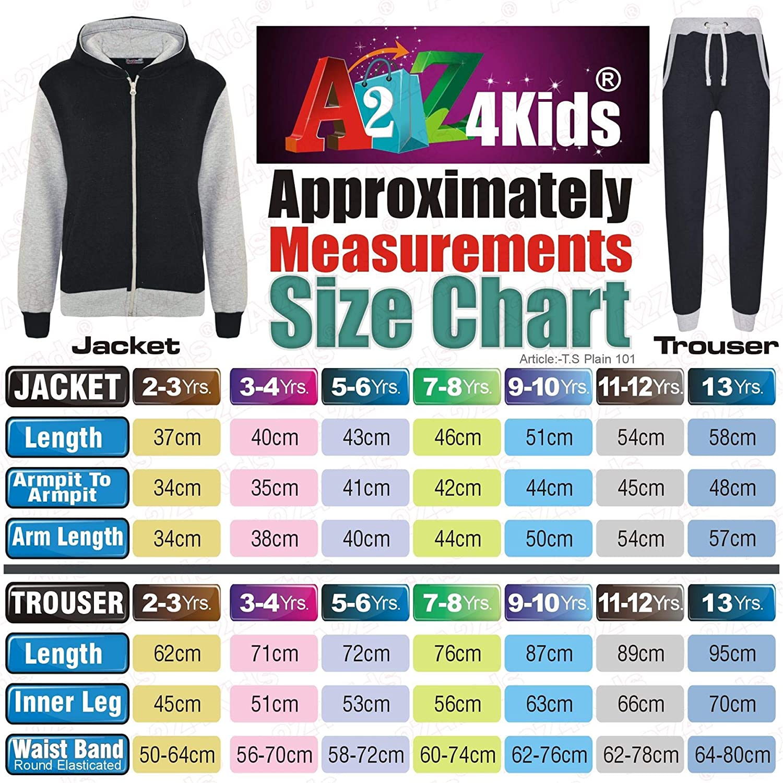 Grey A2Z 4 Kids/® Kids Tracksuit Girls Boys Designers Plain Contrast Plain 101 13 Years