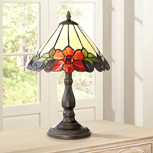 Dyann Flower Antique Traditional Accent Table Lamp 17 1 2 High Bronze Floral Glass Art Shade for Bedroom Nightstand Office – Robert Louis Tiffany