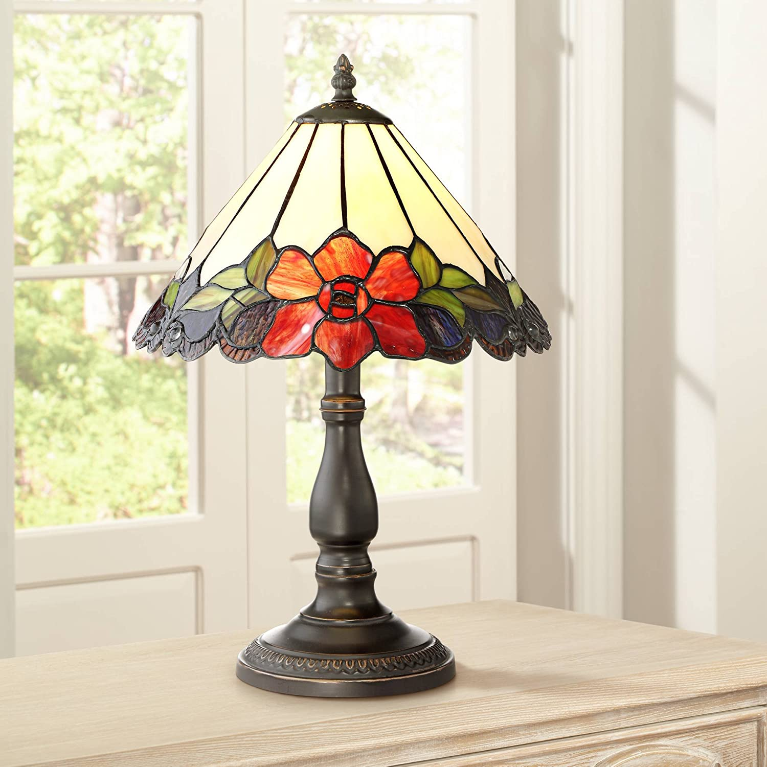 """Dyann Flower Traditional Accent Table Lamp 17 1/2"""" High Bronze Floral Glass Art Shade for Bedroom Nightstand Office - Robert Louis Tiffany"""