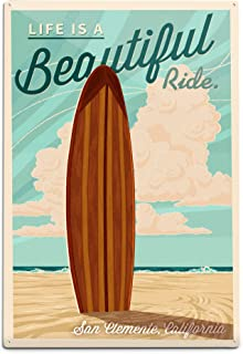 product image for San Clemente, California - Surf Board Letterpress - Life is a Beautiful Ride Press 54186 (6x9 Aluminum Wall Sign, Wall Decor Ready to Hang)