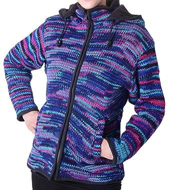 c99e09748d3d Damen Wolljacke Hippie Goa Strick mit Fleecefutter und Zipfelkapuze  Blautöne  Amazon.de  Bekleidung