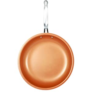 "MasterPan Copper Pan Round Nonstick Fry Pan, 12"", Copper"