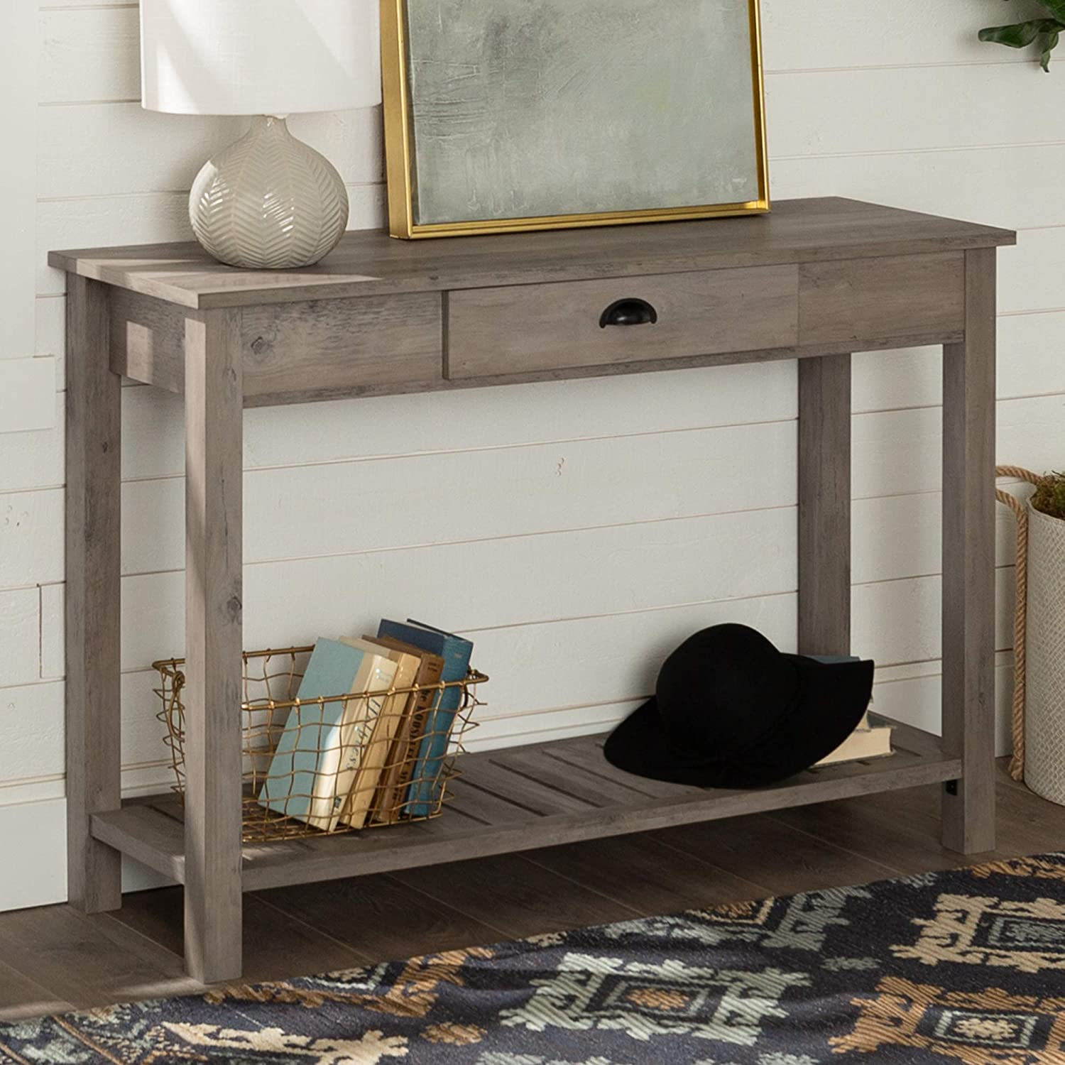 48 WE Furniture AZF48CYETGW Country Style Entry Console Table Gray Wash