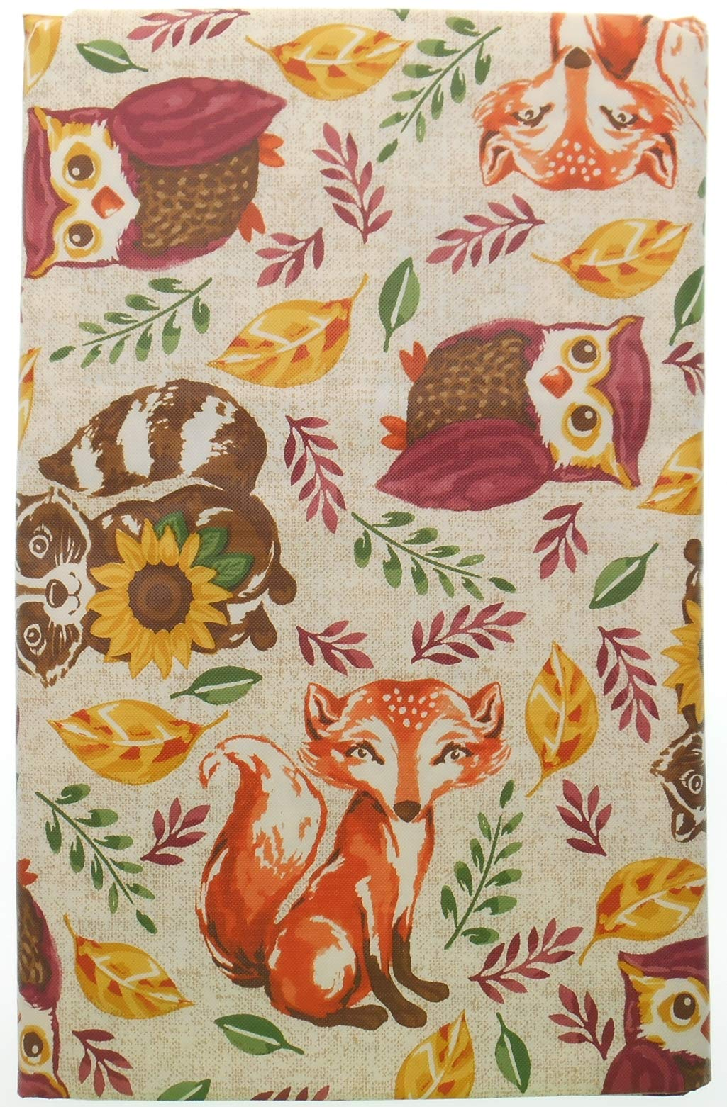 Vinyl Tablecloth Woodland Animals with Flannel Backing. Forest Animals on Beige Background (52'' x 52'' Square)