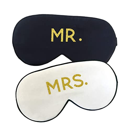 e4e9d22044 Amazon.com  Mr. and Mrs. Silk Sleep Eye Mask Set in Black and Gold  Honeymoon Engagement Gift  Handmade