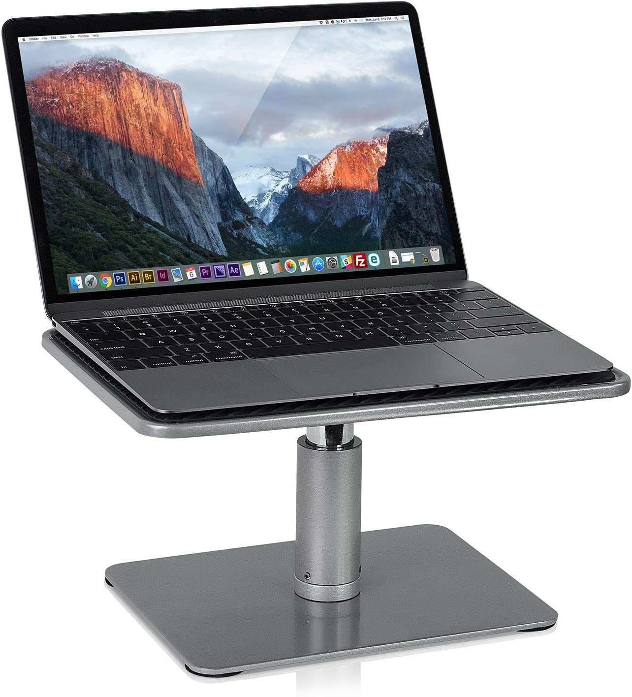 Mount-It! Adjustable Height Laptop Stand for MacBook Pro | Wide Platform Laptop & Monitor Desk Riser | Ergonomic Desk Riser Stand for MacBook and 11-15 Inch Laptops | 24-32 Inch Monitor Stand Riser