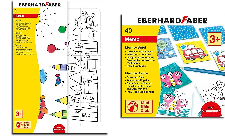 Eberhard Faber Spiel zum Ausmalen inkl. 6 Buntstifte (Memo + Puzzle ...