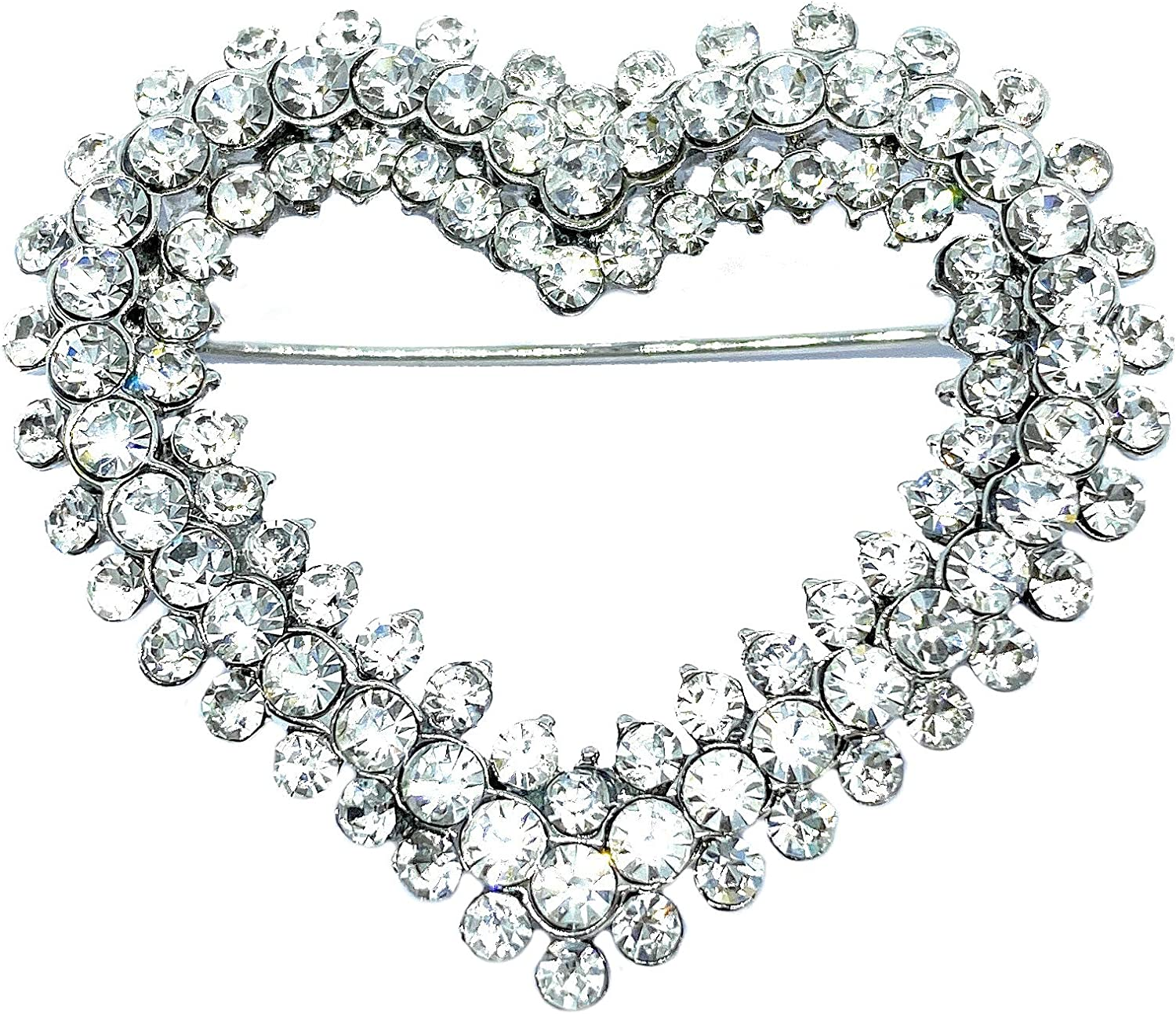 Crystal Heart Brooch 4.5cm x 4cm Includes Gift Box Crystal Heart Pendant with Chain Approx Brooches for Women