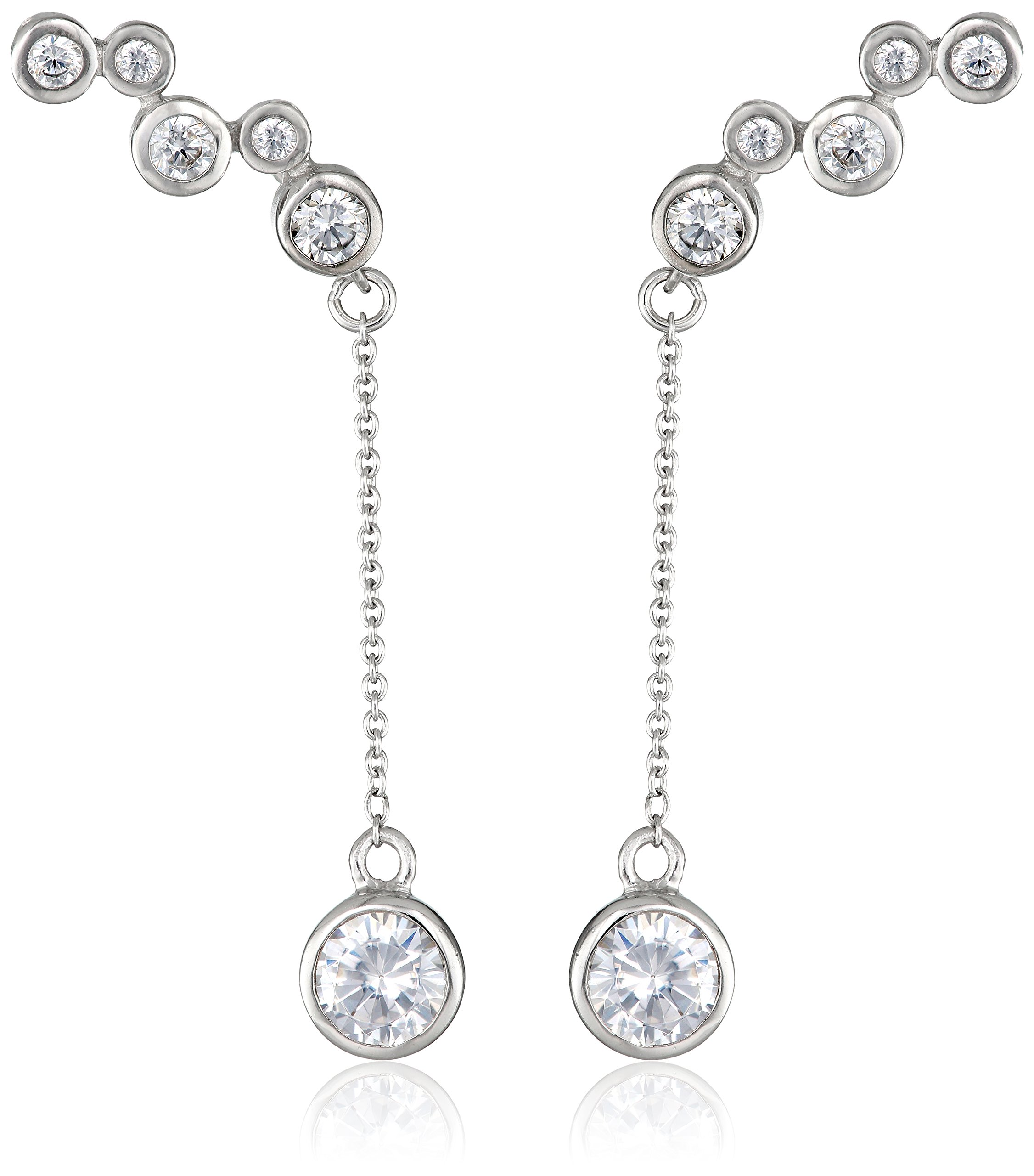 The Ear Pin Silver-Tone and Cubic Zirconia Interchangeable Enhancer Earrings