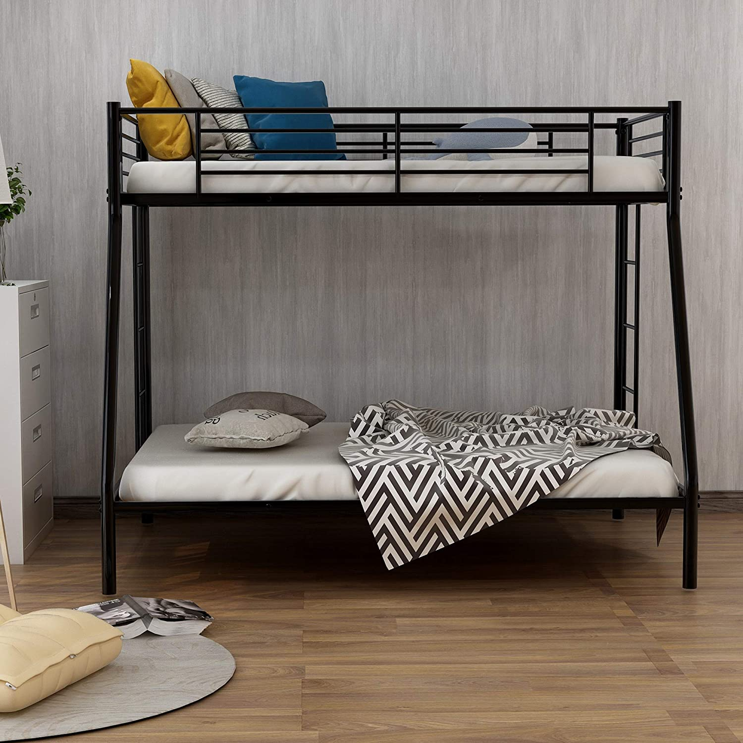 ALI VIRGO Twin-Over-Full Bunk Bed,with Metal Sturdy Frame and Ladder, Space Saving Design for Bedroom,Apartment, Simple Black