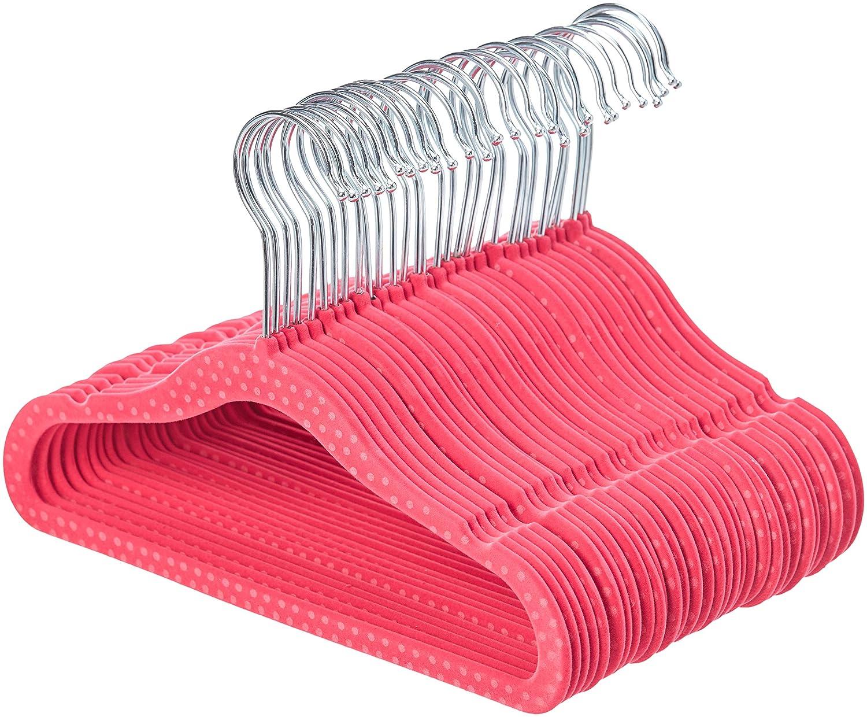 AmazonBasics Kids Velvet Hangers - 30-Pack, Pink Polka Dot AQ-K0002