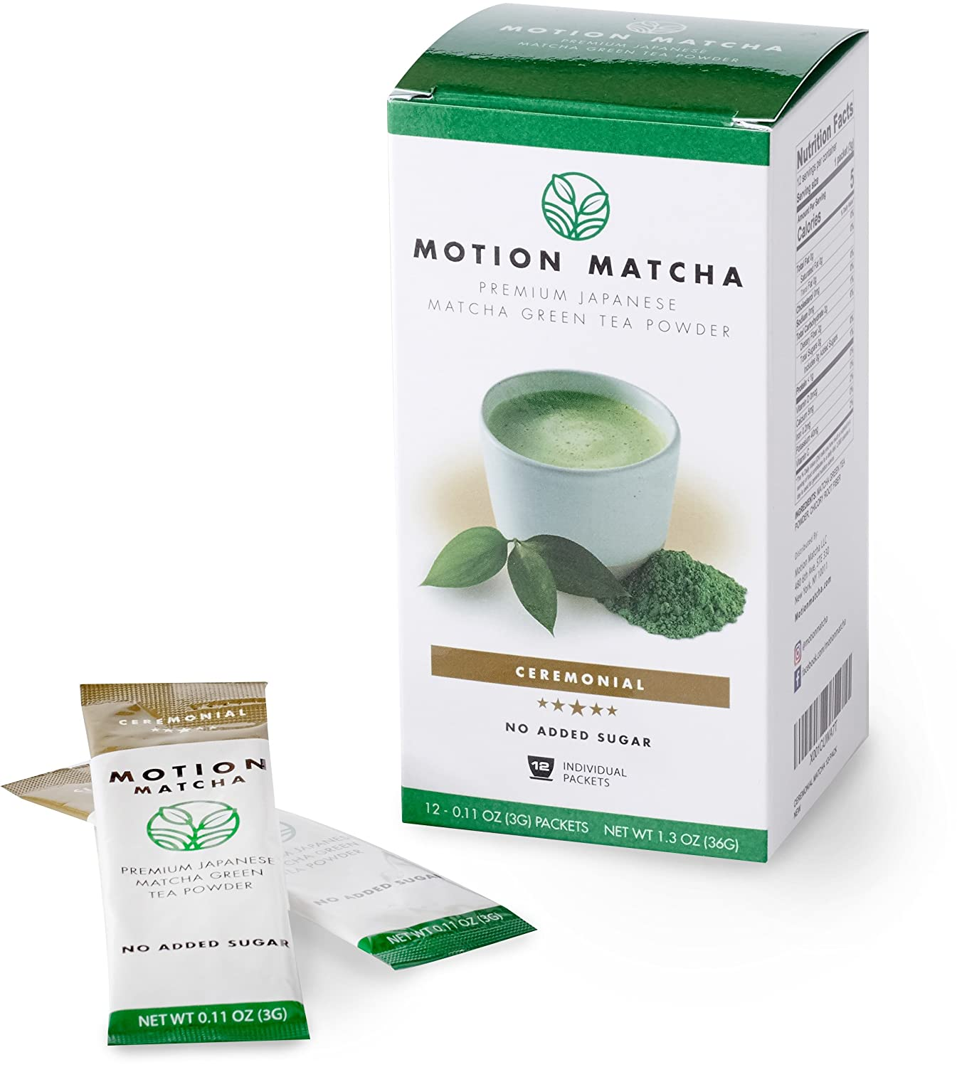 Individual Premium Matcha Green Tea To Go Packets, Sweetened with Real Fruit (The Everything Pack) (6 single serving packets) Motion Matcha