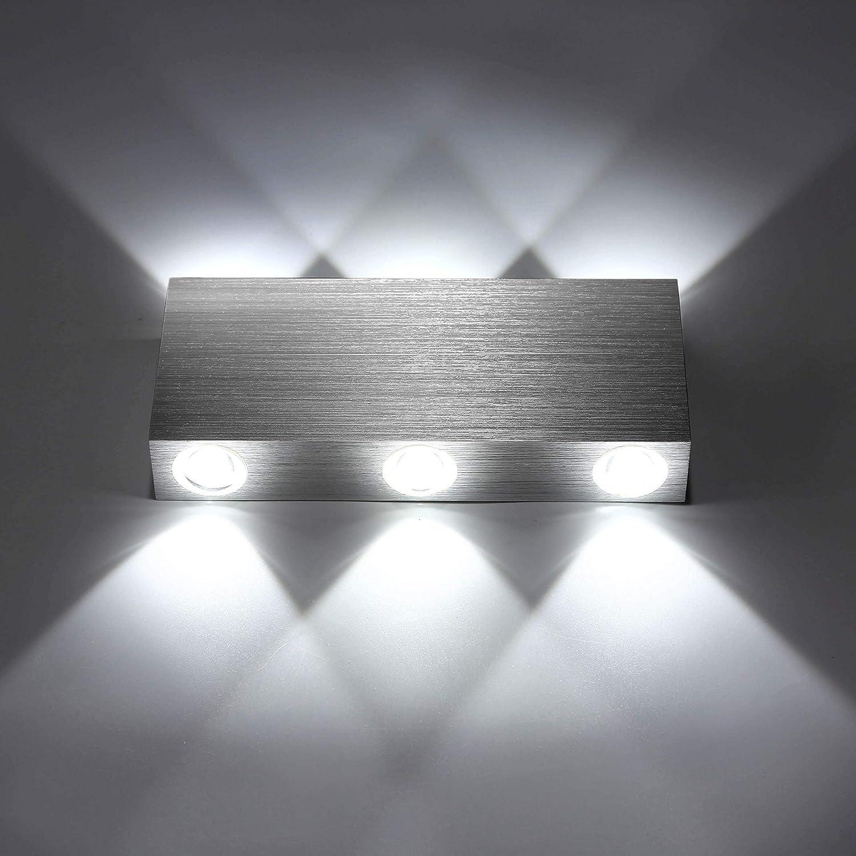 Lightess Applique Murale LED 18W Int/érieur Lampe Murale Moderne Carr/é Up Down en Aluminium Eclairage D/écoration Lumi/ère pour Chambre a Coucher Bureau Lit Couloir Salon H/ôtel Bar Blanc Froid
