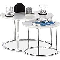 Relaxdays Table Gigogne Set de 2 Table de Salon Petite Ronde Mate, Table Basse Bois Métal Chromé 60x60 cm, Blanc