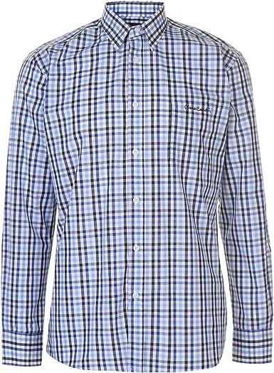 Pierre Cardin - Camisa de manga larga para hombre Negro / Azul / Blanco M: Amazon.es: Ropa y accesorios