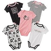 Calvin Klein Baby Girls 5 Pieces Pack Bodysuits, Black/Pink/White, 3-6 Months
