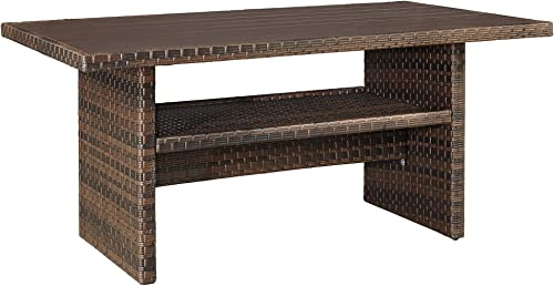 Ashley Furniture Signature Design – Salceda Outdoor Dining Table – Wicker – Faux Wood Top – Brown