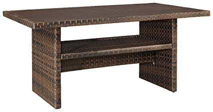 Fine Ashley Furniture Signature Design Salceda Outdoor Dining Table Wicker Faux Wood Top Brown Home Interior And Landscaping Staixmapetitesourisinfo