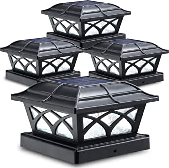 Siedinlar Solar Post Cap Lights Outdoor Glass 2 Color Modes 8 LEDs for 4x4 5x5 6x6 Posts Deck Fence Patio Decoration Warm White & Cool White Lighting Black (4 Pack)