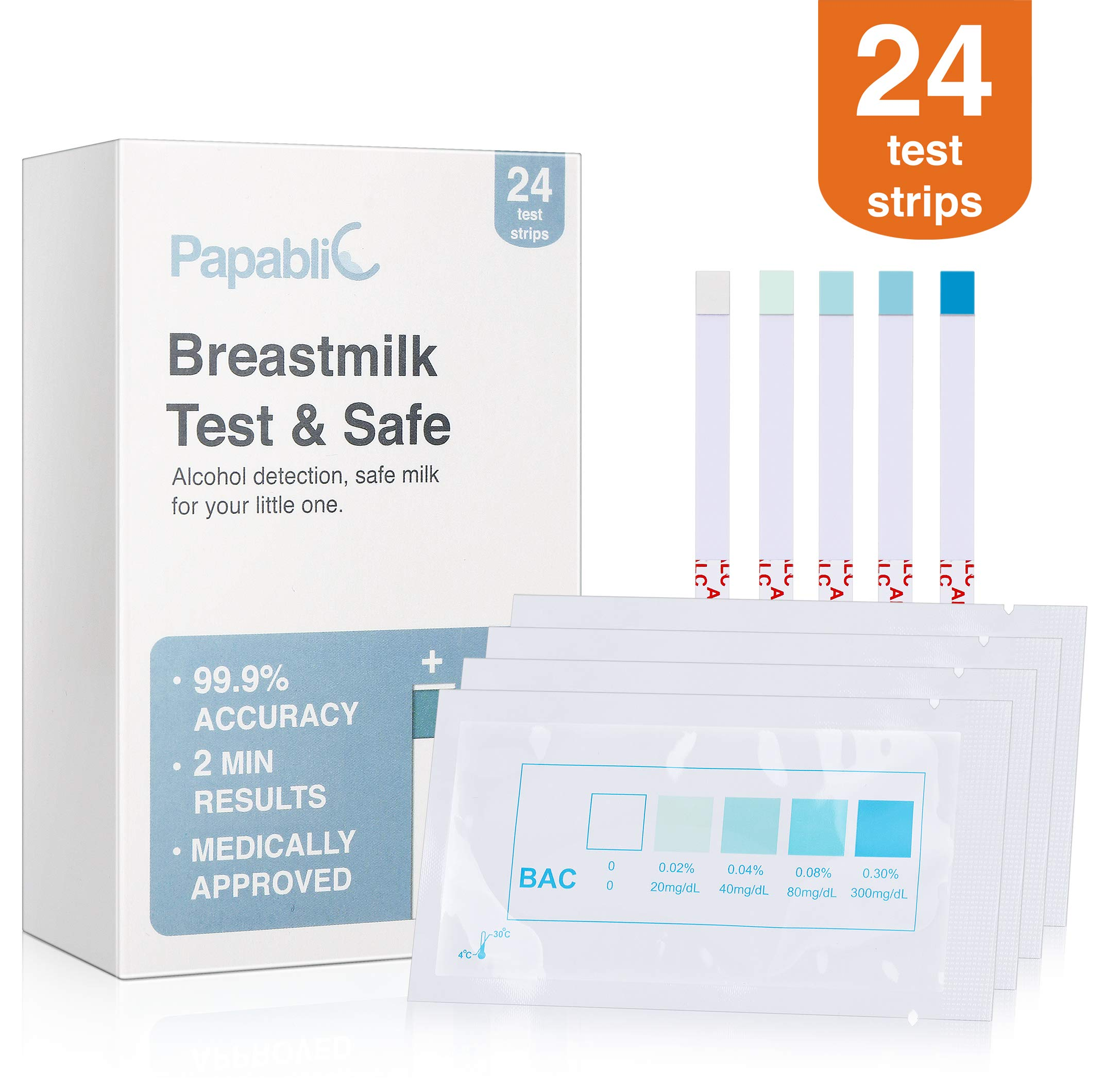 [24-Count] Papablic Test & Safe Breastmilk Alcohol Test Strips, 2-min Quick and Precise Detection for Alcohol in Breastmilk