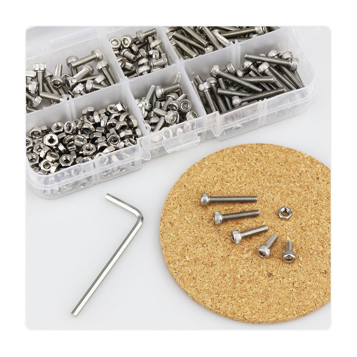 310 piezas plata pernos y tuercas m/étricas precisas con caja de herramientas de surtido para proyectos impresos en 3D Juego de tornillos y tuercas de cabeza hexagonal de acero inoxidable M3 kit surtido de llaves Allen