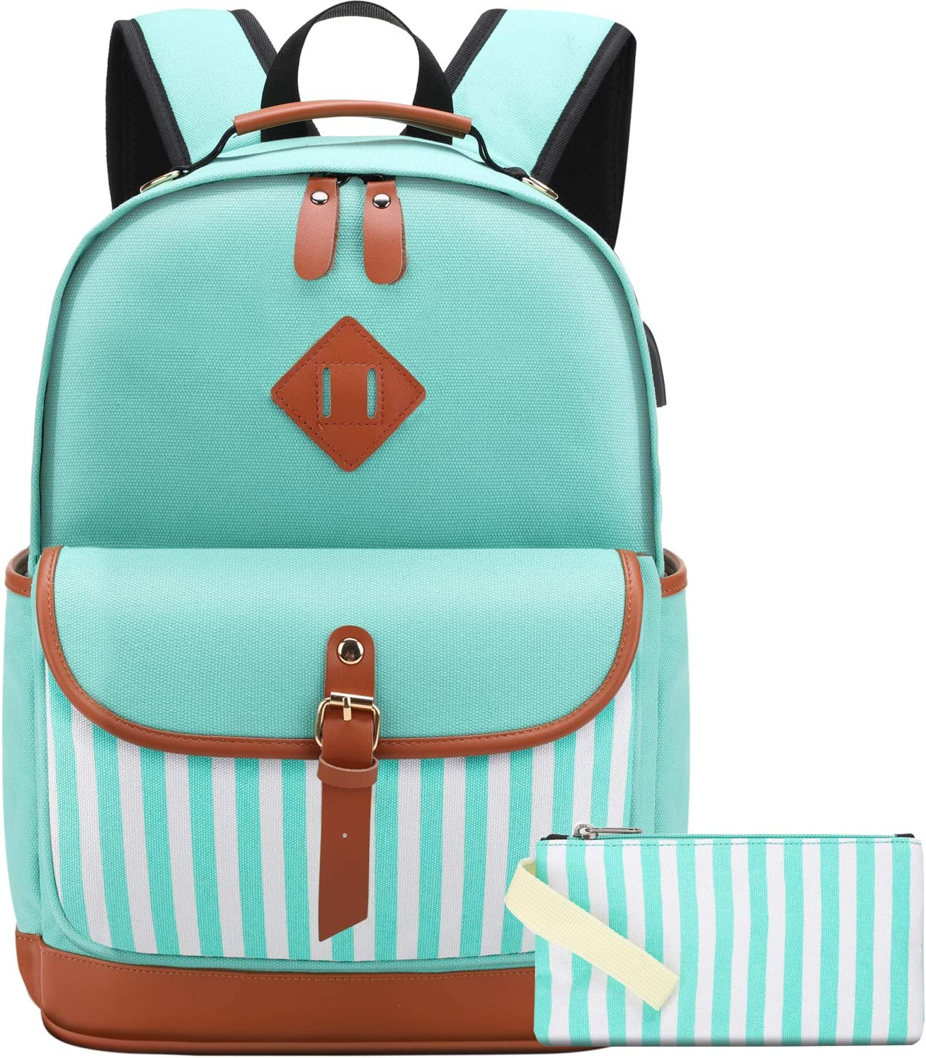 "School Backpack for Girls College Laptop Backpack for Women fit 15.6"" Laptop School Bag With USB Charging Port Green"
